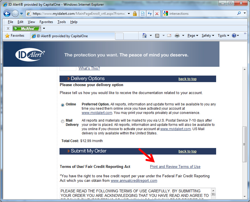 The link to the contract terms on the My ID Alert order form page