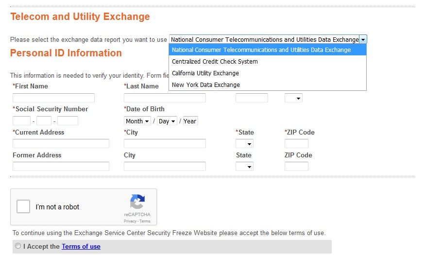 Image of confusing drop-down menu for exchanges within the security freeze process. Click to view larger version