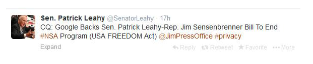 Tweet by Senator Patrick Leahy