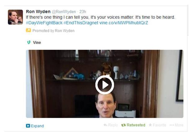 Tweet by Senator Ron Wyden