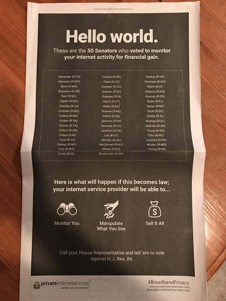 Advertisement in the New York Times newspaper after the Senate vote. Click to view larger version