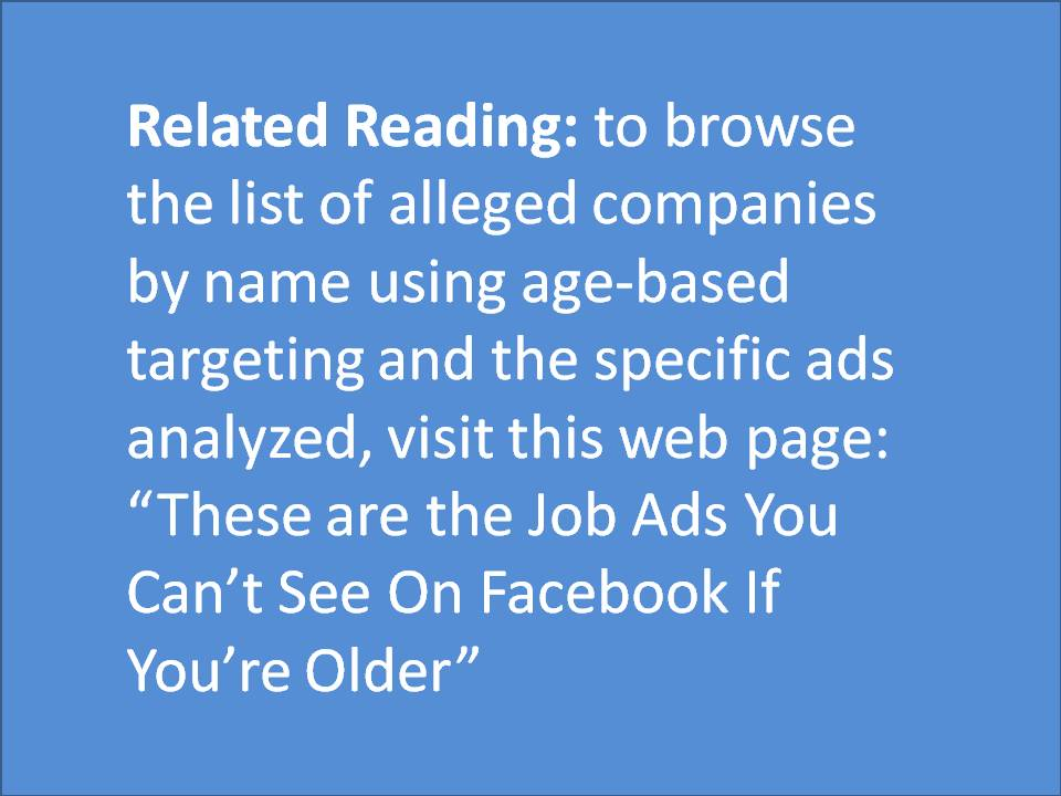 Related Reading ad object. List of coompanies and their age-based ads