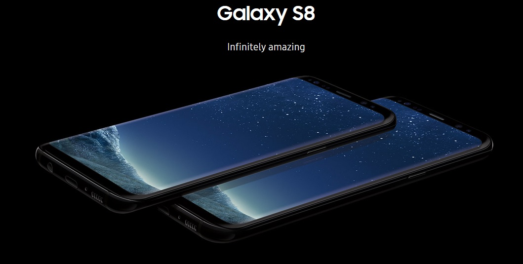 Image of Samsung Galaxy S8 phones. Click to view larger version