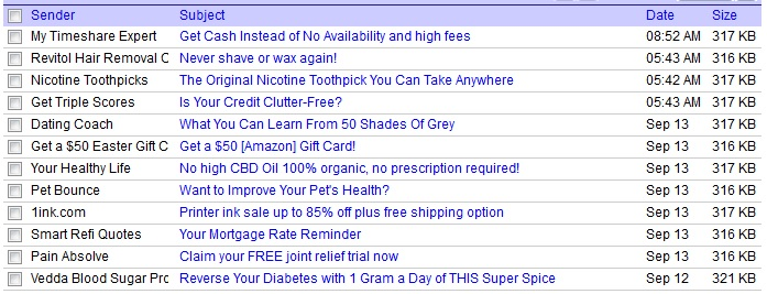 Partial list of messages in a spam folder. Click to view a larger version