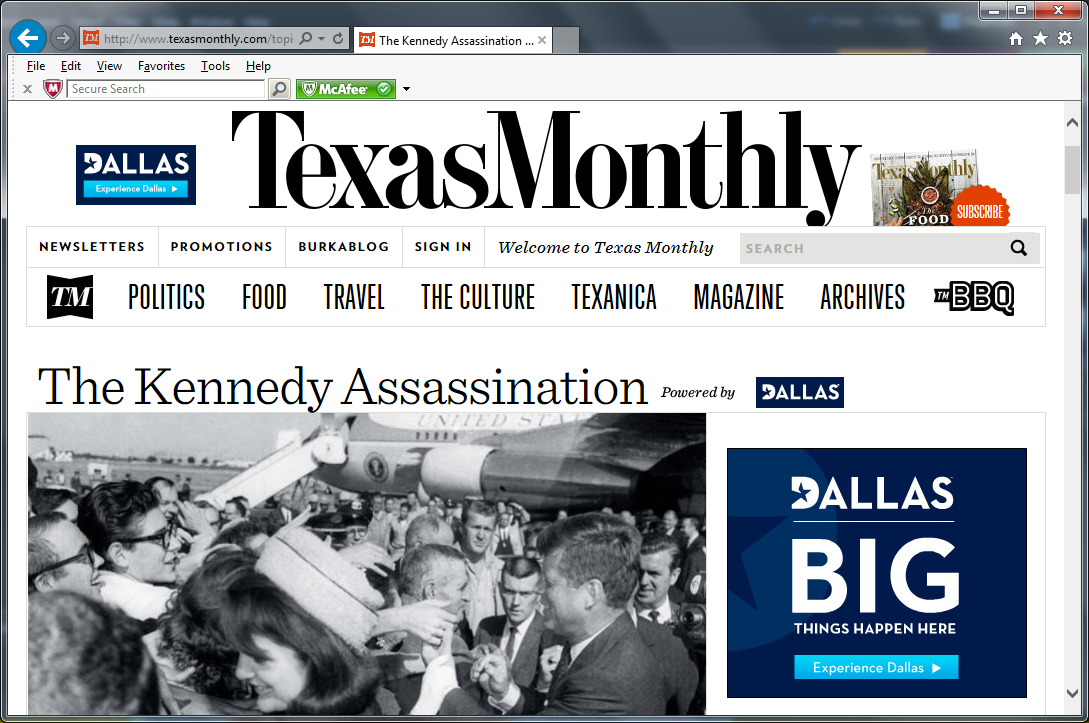 Banner ad on Nov. 22, 2013 at the Texas Monthly website