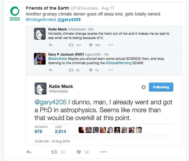Twitter conversation between astrophysicist and climate change denier
