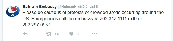 Bahrain Embassy tweet about travel to USA. Click to view larger version