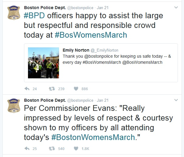 Tweets about Womens March by Boston Police Department. Click to view larger version