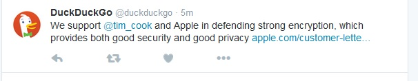 Tweet by DuckDuckGo.com search engine about Apple iPhone privacy and government back door demand