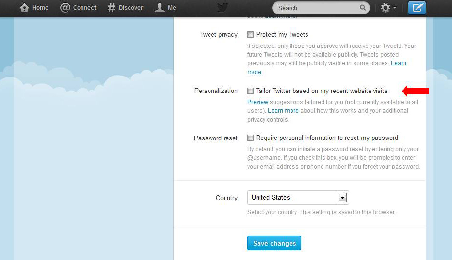 Twitter Personalization setting on the Account Settings page
