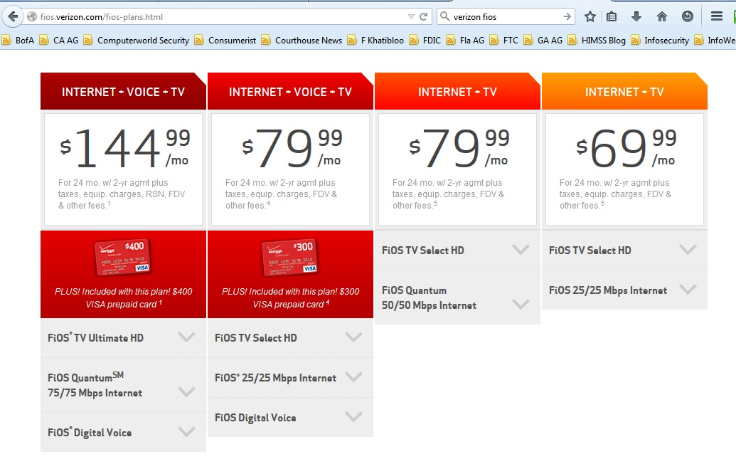 Verizon FiOS prices in January 2015. Click to view larger image.