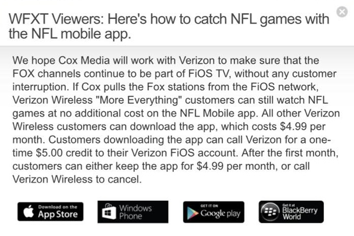 NFL programming available via Verizon Wireless mobile app