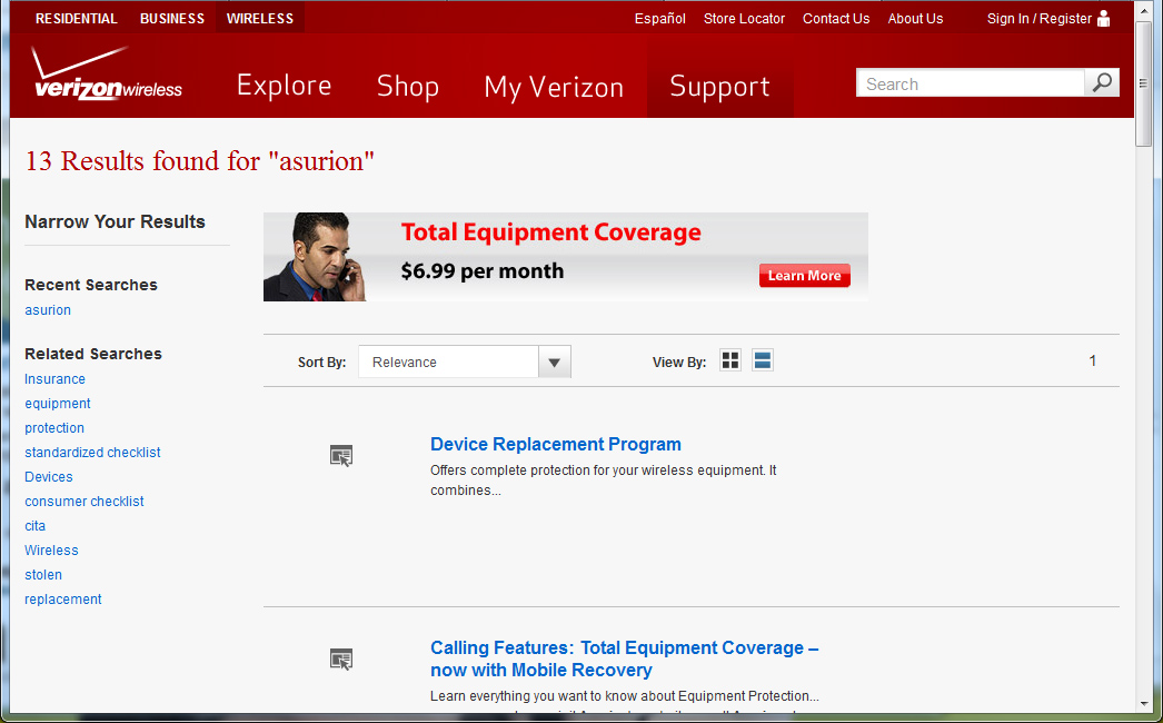 Search results page at Verizon Wireless Illinois website