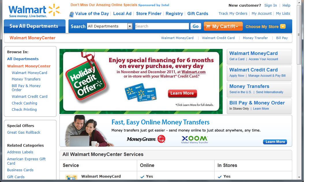 Screen image of Walmart Money Centers website